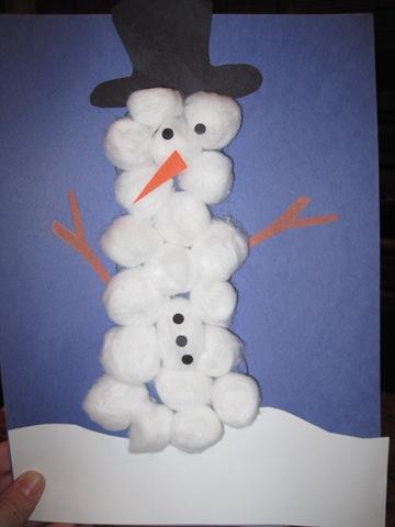 Cotton Ball Snowman Craft