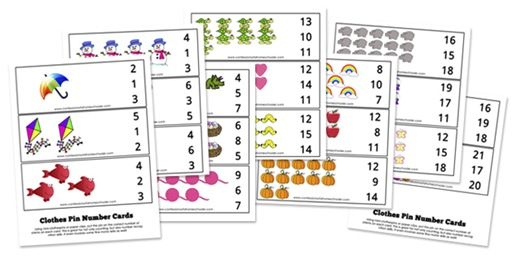 Clothes Pin Number Cards: K4 & Prek