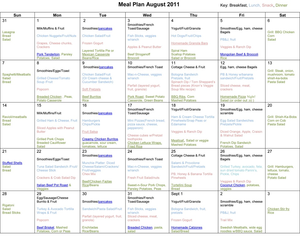 Monthly Meal Planner: August 2011