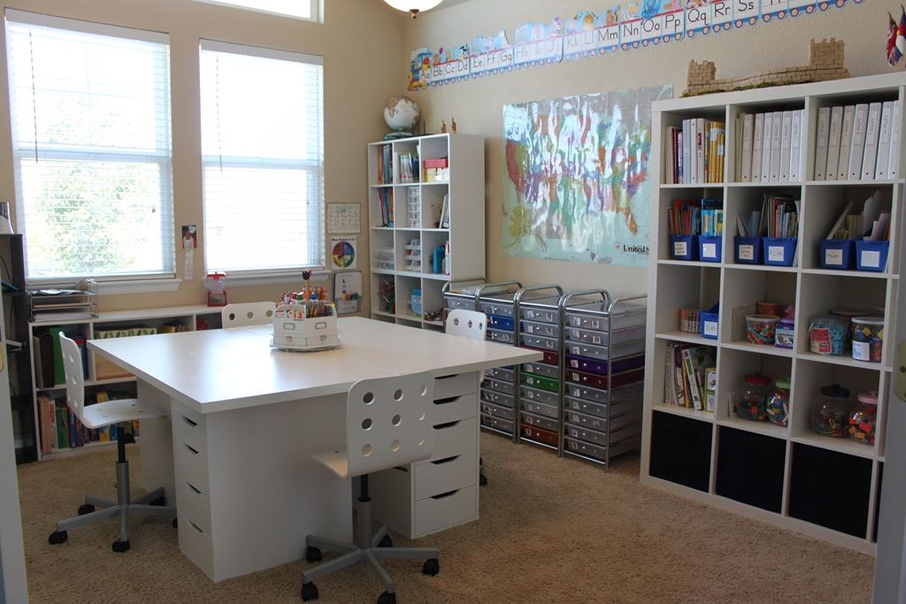 Our schoolroom ala ikea confessions of a homeschooler for Homeschool dining room ideas