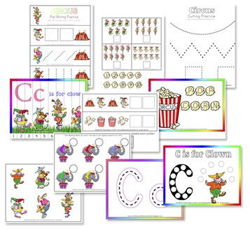 C is for Clown Free Preschool Printables