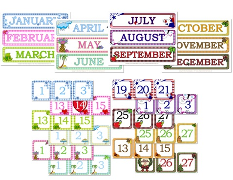 Gingham Calendar Day & Month Printables