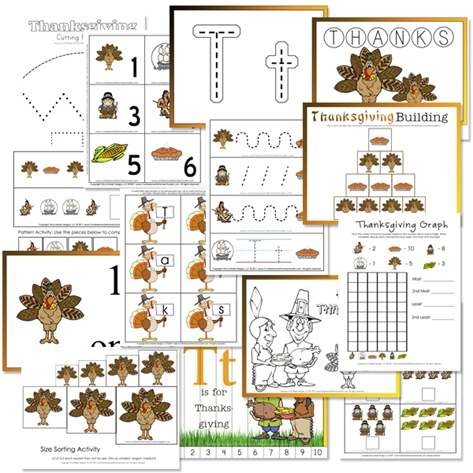 Thanksgiving Preschool FREE Printables - Confessions of a Homeschooler
