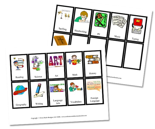 Workbox School Subject Cards