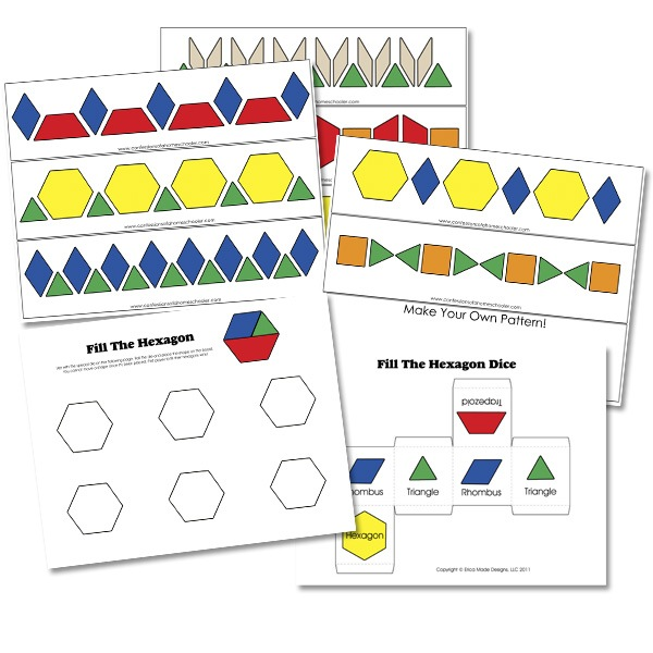 FREE 1-20 Pattern Block Cards - Confessions of a Homeschooler