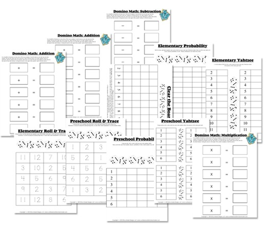 math worksheet : dice  domino math fun!  confessions of a homeschooler : Math Games Worksheets
