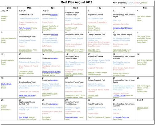 Monthly Meal Plan ~ August 2012
