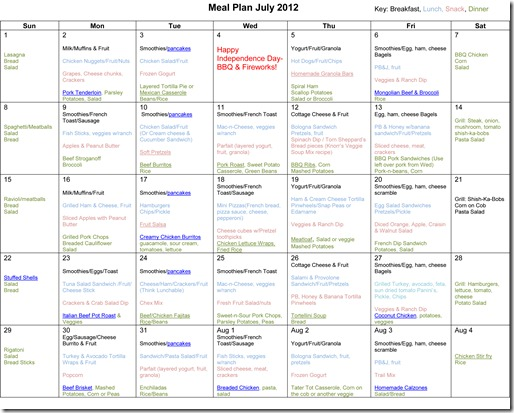July Monthly Meal Plan Recipes