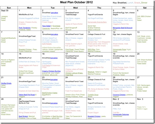 Monthly Meal Plan Recipes ~ October