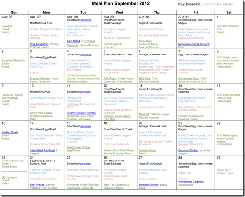 Monthly Meal Plans ~ September 2012