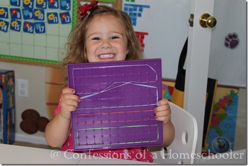 Teeny Tot preschool geoboard activity