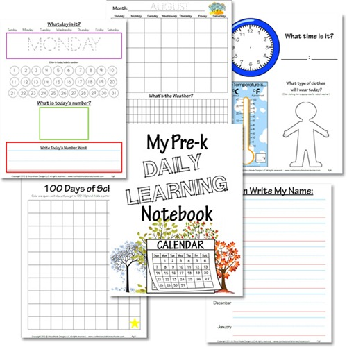 Kindergarten Calendar Notebook : Preschool daily learning notebook confessions of a