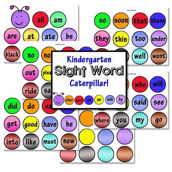 Kindergarten Sight Words on Color By Sight Word Pages