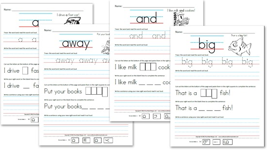 Pre-Kindergarten (Pre-Primer) Sight Word Sentences