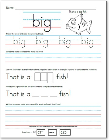 of Word  Kindergarten worksheets sight Primer)  pictures  a word (Pre Sight Confessions  with  Sentences