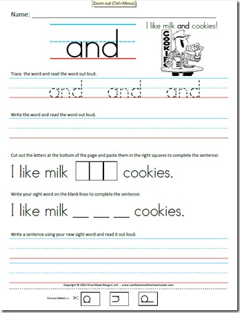 math worksheet : kindergarten primer sight word sentences  confessions of a  : Free Printable Tracing Worksheets For Kindergarten