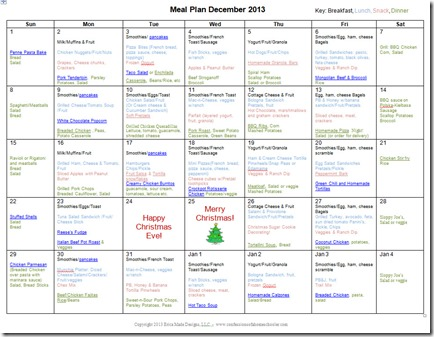 December 2013 Monthly Meal Plan Recipes