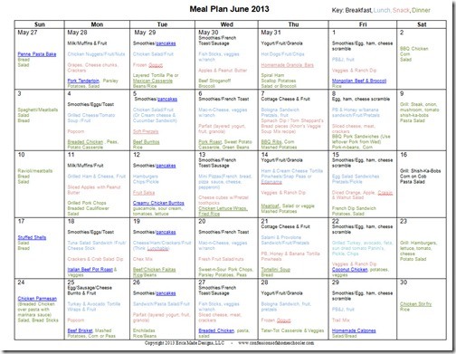June 2013 Monthly Meal Plan Recipes