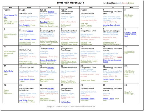 March 2013 Monthly Meal Plan Recipes