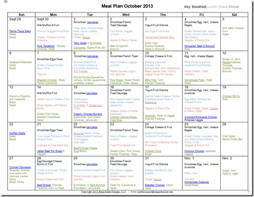 October 2013 Monthly Meal Plan Recipes
