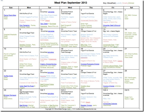 September 2013 Monthly Meal Plan Recipes on 7th Grade