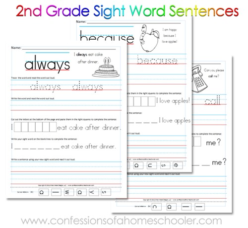 Printables 2nd Grade Sight Words Worksheets 2nd grade sight word sentences confessions of a homeschooler second sentence printables with you 2ndgradepromo