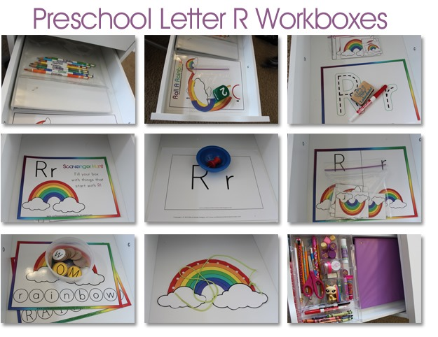 as you can see by her workboxes shes been having fun learning all about the letter r and rainbows this week