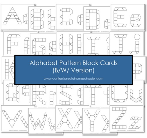FREE B/W Alphabet Pattern Block Cards - Confessions of a Homeschooler