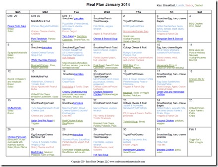 January 2014 Monthly Meal Plan