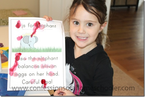 Kindergarten elephant letter hunt worksheet