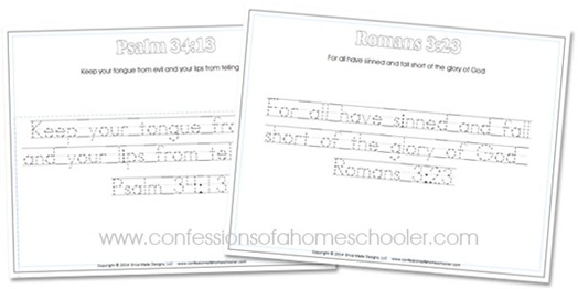 Kindergarten Bible Verse Handwriting Worksheets - Confessions of a ...