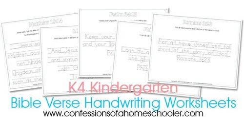 Number Names Worksheets handwriting worksheets 1st grade : Kindergarten Bible Verse Handwriting Worksheets - Confessions of a ...