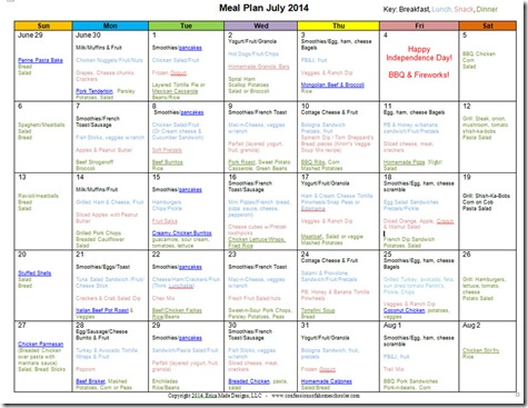 July 2014 Monthly Meal Plan