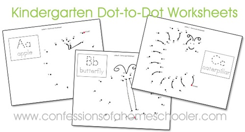 kindergarten dottodot worksheets  confessions of a homeschooler each kindergarten dottodot worksheet goes along with a letter theme from  my letter of the week program but its made a little more challenging for  those