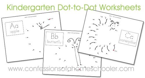 Number Names Worksheets dot to dot kindergarten : Kindergarten Dot-to-Dot Worksheets - Confessions of a Homeschooler