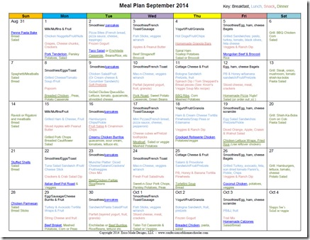 2014 September Monthly Meal Plan