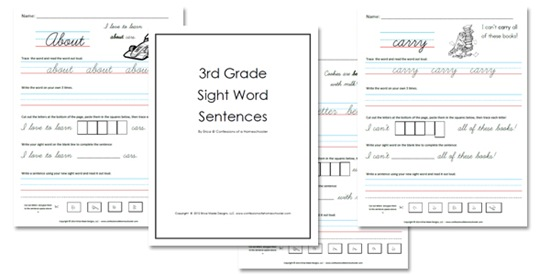 picture relating to Printable Sight Words titled 3rd Quality Sight Phrase Sentences - Confessions of a Homeschooler