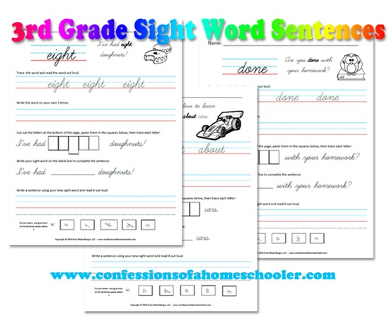 Printables 3rd Grade Sight Words Worksheets 3rd grade sight word sentences confessions of a homeschooler sentence printables with you 3rdgradesentencess promo3