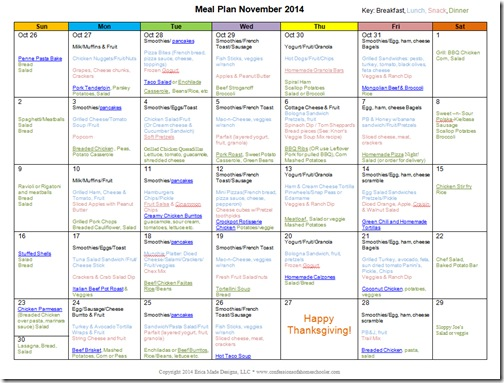 November 2014 Monthly Meal Plan