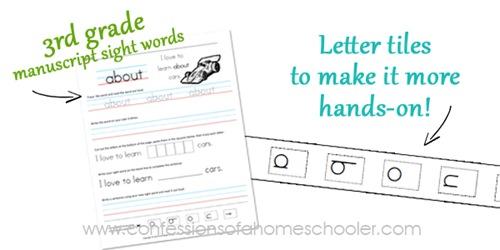 3rd Grade Sight Word Sentences–Manuscript