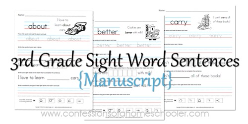 Worksheets Second Grade Sight Word Worksheets 3rd grade sight word confessions of a 3rdgradesentencesmanuscript promo2