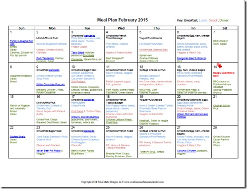 February 2015 Monthly Meal Plan