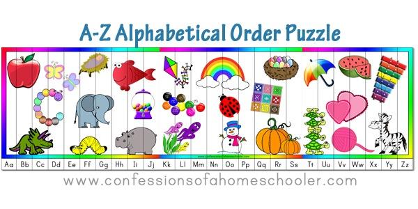 A-Z Alphabetical Order Puzzle