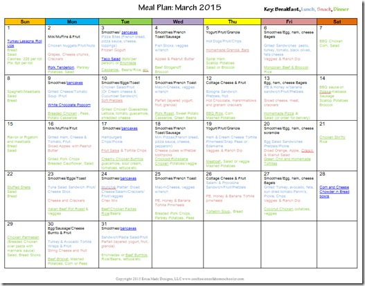 March 2015 Monthly Meal Plan
