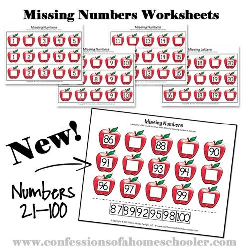 Kindergarten Missing Numbers Worksheets - Confessions of a ...