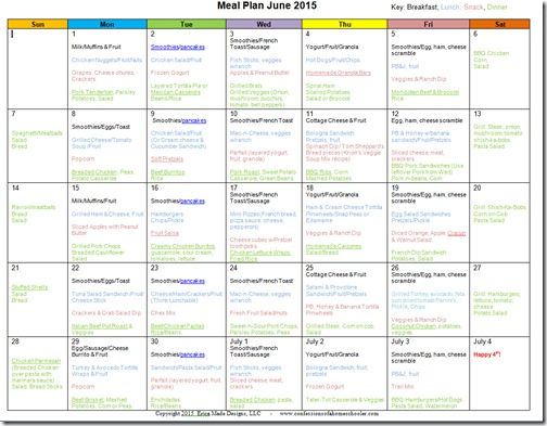 June 2015 Monthly Meal Plan