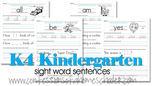 math worksheet : k4 kindergarten sight word sentences  confessions of a homeschooler : Kindergarten Sentence Worksheets