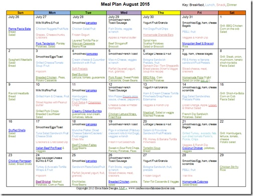 August 2015 Monthly Meal Plan