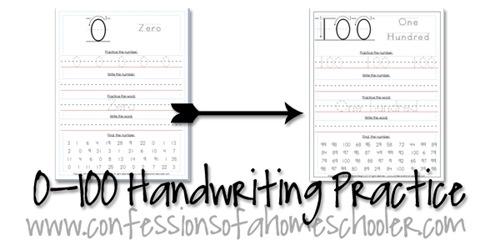 0-100 Kindergarten–1st Grade Number Writing Practice - Confessions Of A  Homeschooler