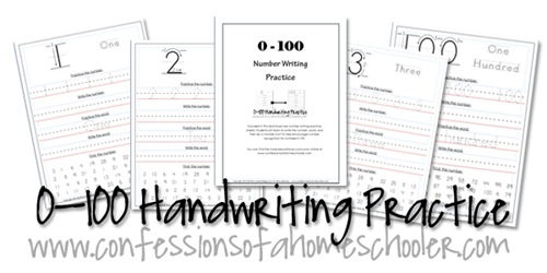 Number Names Worksheets number practice writing : 0-100 Kindergarten–1st Grade Number Writing Practice - Confessions ...